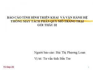 BO CO TNH HNH TRIN KHAI V VN