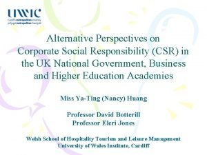 Alternative Perspectives on Corporate Social Responsibility CSR in