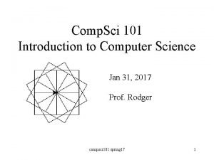 Comp Sci 101 Introduction to Computer Science Jan