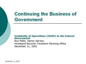 Continuing the Business of Government Continuity of Operations