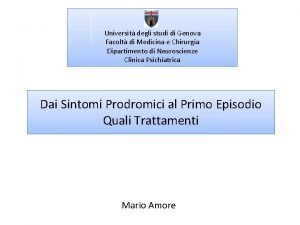 Universit degli studi di Genova Facolt di Medicina