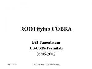 ROOTifying COBRA Bill Tanenbaum USCMSFermilab 06062002 Bill Tanenbaum