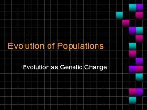 Evolution of Populations Evolution as Genetic Change Natural