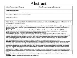 Abstract Author Name Margaret Gyapong Email margaret gyaponghrughs