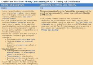 Cheshire and Merseyside Primary Care Academy PCA A