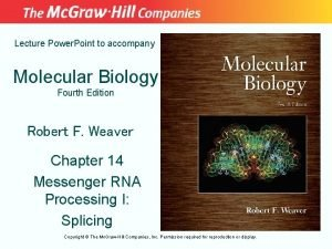 Lecture Power Point to accompany Molecular Biology Fourth