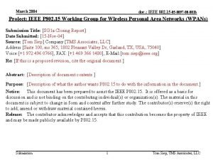 March 2004 doc IEEE 802 15 05 0097