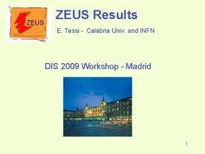 ZEUS Results E Tassi Calabria Univ and INFN