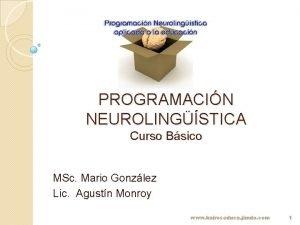 PROGRAMACIN NEUROLINGSTICA Curso Bsico MSc Mario Gonzlez Lic