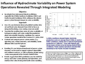 Influence of Hydroclimate Variability on Power System Operations
