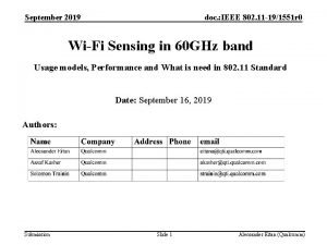 September 2019 doc IEEE 802 11 191551 r