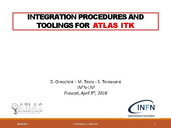 INTEGRATION PROCEDURES AND TOOLINGS FOR ATLAS ITK D