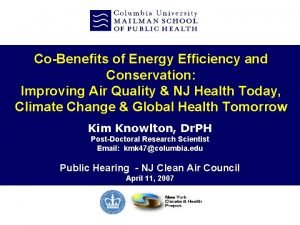 CoBenefits of Energy Efficiency and Conservation Improving Air