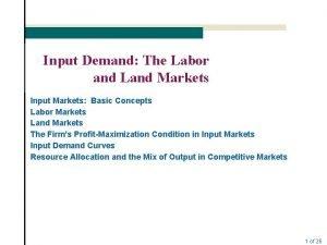 Input Demand The Labor and Land Markets Input