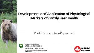 Development and Application of Physiological Markers of Grizzly