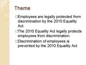 Theme Employees are legally protected from discrimination by