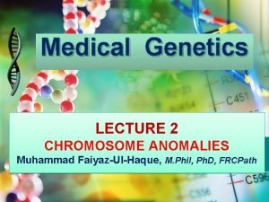 Medical Genetics LECTURE 2 CHROMOSOME ANOMALIES Muhammad FaiyazUlHaque