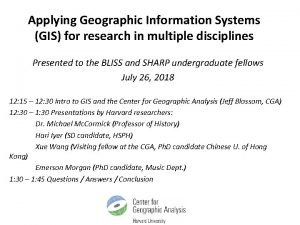 Applying Geographic Information Systems GIS for research in