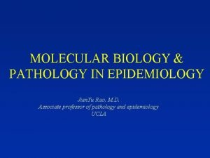 MOLECULAR BIOLOGY PATHOLOGY IN EPIDEMIOLOGY Jian Yu Rao