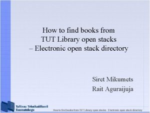 How to find books from TUT Library open