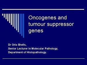 Oncogenes and tumour suppressor genes Dr Orla Sheils