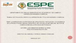 DEPARTAMENTO DE CIENCIAS ADMINISTRATIVAS ECONMICAS Y DE COMERCIO