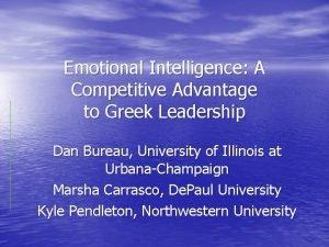 Emotional Intelligence A Competitive Advantage to Greek Leadership