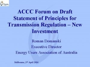 ACCC Forum on Draft Statement of Principles for
