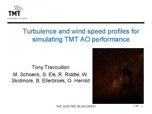 Turbulence and wind speed profiles for simulating TMT