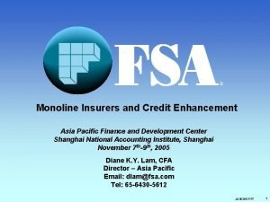 R Monoline Insurers and Credit Enhancement Asia Pacific