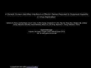 A Genetic Screen Identifies Interferon Effector Genes Required