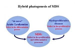 Hybrid phatogenesis of MDS Myeloproliferative diseases de novo