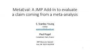 Meta Eval A JMP AddIn to evaluate a