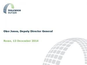 Olav Jones Deputy Director General Rome 13 December