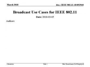 March 2018 doc IEEE 802 11 180529 r