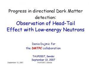 Progress in directional Dark Matter detection Observation of