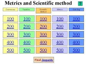 Metrics and Scientific method Conversions Variables Scientific Method