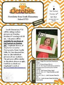 Newsletter from South Elementary School PTO ad e