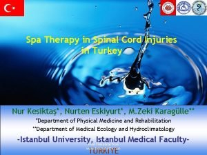 Spa Therapy in Spinal Cord Injuries in Turkey