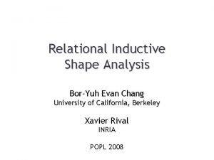 Relational Inductive Shape Analysis BorYuh Evan Chang University