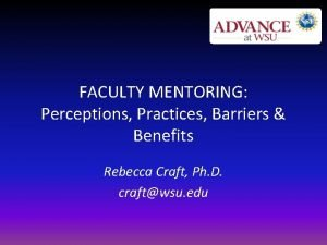 FACULTY MENTORING Perceptions Practices Barriers Benefits Rebecca Craft