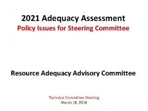 2021 Adequacy Assessment Policy Issues for Steering Committee