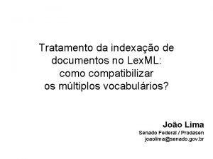 Tratamento da indexao de documentos no Lex ML