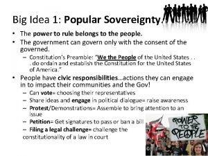 Big Idea 1 Popular Sovereignty The power to