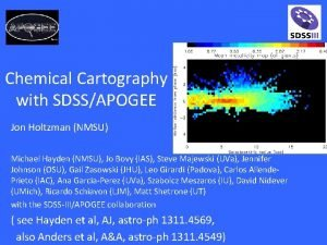 Chemical Cartography with SDSSAPOGEE Jon Holtzman NMSU Michael