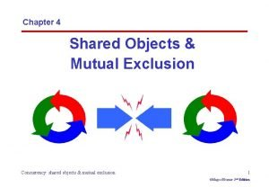 Chapter 4 Shared Objects Mutual Exclusion Concurrency shared