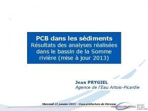 PCB dans les sdiments Rsultats des analyses ralises