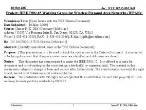 10 May 2000 doc IEEE 802 15 00154