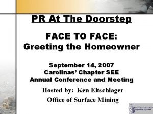 PR At The Doorstep FACE TO FACE Greeting