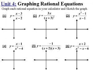 Unit 4 Graphing Rational Equations Graph each rational